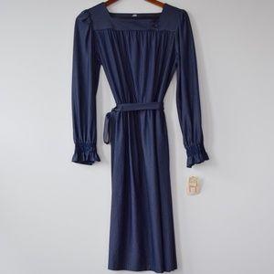 Vintage prairie  Dress Navy Pin Stripe Long Sleeve